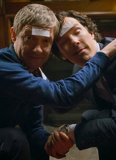 Benedict Cumberbatch and Martin Freeman as Sherlock Holmes and John Watson drunk and playing 20 questions in BBC Sherlock Season 3 Episode 2 The Sign of Three